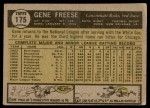 1961 Topps #175  Gene Freese  Back Thumbnail