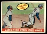 1959 Topps #467   -  Hank Aaron Clubs World Series Homer Front Thumbnail