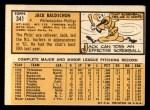 1963 Topps #341 DOT Jack Baldschun  Back Thumbnail