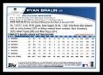 2013 Topps #8  Ryan Braun   Back Thumbnail