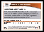 2013 Topps #196  Ryan Vogelsong   Back Thumbnail