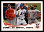 2013 Topps #287   -  Johnny Cueto / Gio Gonzalez / R.A. Dickey  NL Wins Leaders Front Thumbnail