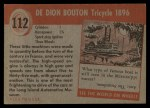 1954 Topps World on Wheels #112   De Dion Bouton Tricycle 1896 Back Thumbnail