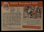 1954 Topps World on Wheels #116   Knox Runabout 1905 Back Thumbnail