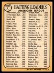 1968 Topps #2   -  Al Kaline / Frank Robinson / Carl Yastrzemski AL Batting Leaders Back Thumbnail
