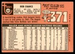 1969 Topps #523  Bob Chance  Back Thumbnail