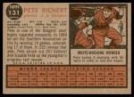 1962 Topps #131 NRM Pete Richert  Back Thumbnail