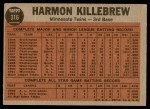 1962 Topps #316   -  Harmon Killebrew Sends One Into Orbit Back Thumbnail