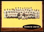 1962 Topps #206   Senators Team Front Thumbnail