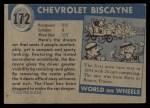 1954 Topps World on Wheels #172 BLU  Chevrolet Biscayne Back Thumbnail