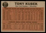 1962 Topps #311   -  Tony Kubek  Makes the Double Play Back Thumbnail