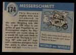 1954 Topps World on Wheels #174 BLU  Messerschmitt Back Thumbnail