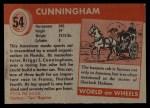 1954 Topps World on Wheels #54   Cunningham Back Thumbnail