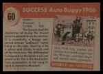 1954 Topps World on Wheels #60   Success Auto Buggy 1906 Back Thumbnail