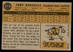 1960 Topps #518  Tony Gonzalez  Back Thumbnail