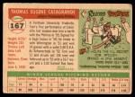 1955 Topps #167  Tom Casagrande  Back Thumbnail