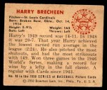 1950 Bowman #90  Harry Brecheen  Back Thumbnail