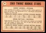 1969 Topps #99 xLP  -  Graig Nettles / Danny Morris Twins Rookies Back Thumbnail