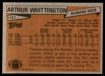 1981 Topps #161  Arthur Whittington  Back Thumbnail