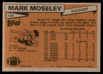 1981 Topps #145  Mark Moseley  Back Thumbnail
