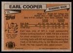 1981 Topps #75  Earl Cooper  Back Thumbnail