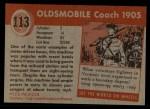 1954 Topps World on Wheels #113   Oldsmobile Coach 1905 Back Thumbnail