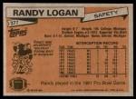 1981 Topps #377  Randy Logan  Back Thumbnail