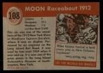 1954 Topps World on Wheels #108   Moon Raceabout 1912 Back Thumbnail