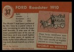 1953 Topps World on Wheels #37   Ford Roadster 1910 Back Thumbnail