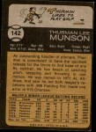 1973 Topps #142  Thurman Munson  Back Thumbnail