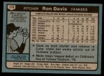 1980 Topps #179  Ron Davis   Back Thumbnail