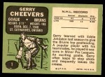 1970 Topps #1  Gerry Cheevers  Back Thumbnail