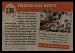1954 Topps World on Wheels #136   Glasspar Fiberglass Body Back Thumbnail
