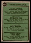 1974 Topps #604   -  Frank White / Andre Thornton / Terry Hughes / John Knox Rookie Infielders   Back Thumbnail