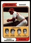 1974 Topps #326   -  Sparky Anderson / Alex Grammas / Ted Kluszewski / Scherger /  Larry Shepard Reds Leaders   Front Thumbnail