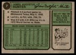 1974 Topps #7  Catfish Hunter  Back Thumbnail
