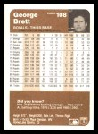 1983 Fleer #108  George Brett  Back Thumbnail