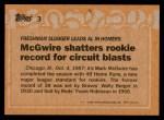 1988 Topps #3 COR  -  Mark McGwire Record Breaker Back Thumbnail