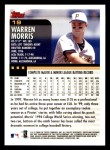 2000 Topps Opening Day #19  Warren Morris  Back Thumbnail