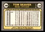 1981 Fleer #200  Tom Seaver  Back Thumbnail