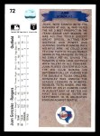 1990 Upper Deck #72  Juan Gonzalez  Back Thumbnail