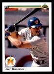 1990 Upper Deck #72  Juan Gonzalez  Front Thumbnail