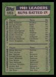 1982 Topps #163   -  Eddie Murray / Mike Schmidt RBI Leaders   Back Thumbnail