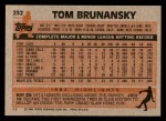 1983 Topps #232  Tom Brunansky  Back Thumbnail