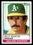 1983 Topps #156  Billy Martin  Front Thumbnail