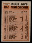 1983 Topps #202   -  Dave Stieb / Damaso Garcia Blue Jays Leaders Back Thumbnail