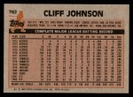 1983 Topps #762  Cliff Johnson  Back Thumbnail
