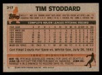 1983 Topps #217  Tim Stoddard  Back Thumbnail