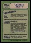 1982 Topps #201   -  George Brett In Action Back Thumbnail
