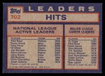 1984 Topps #702   -  Pete Rose / Tony Perez / Rusty Staub NL Active Career Hits Leaders Back Thumbnail